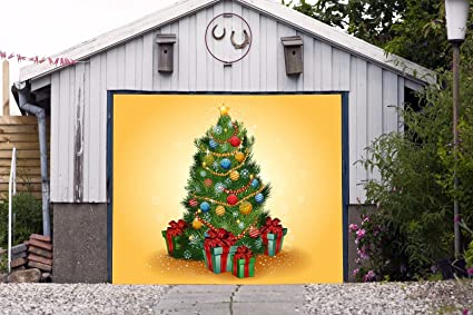 billboard christmas tree single garage door covers merry christmas full color holiday door decor decorations of