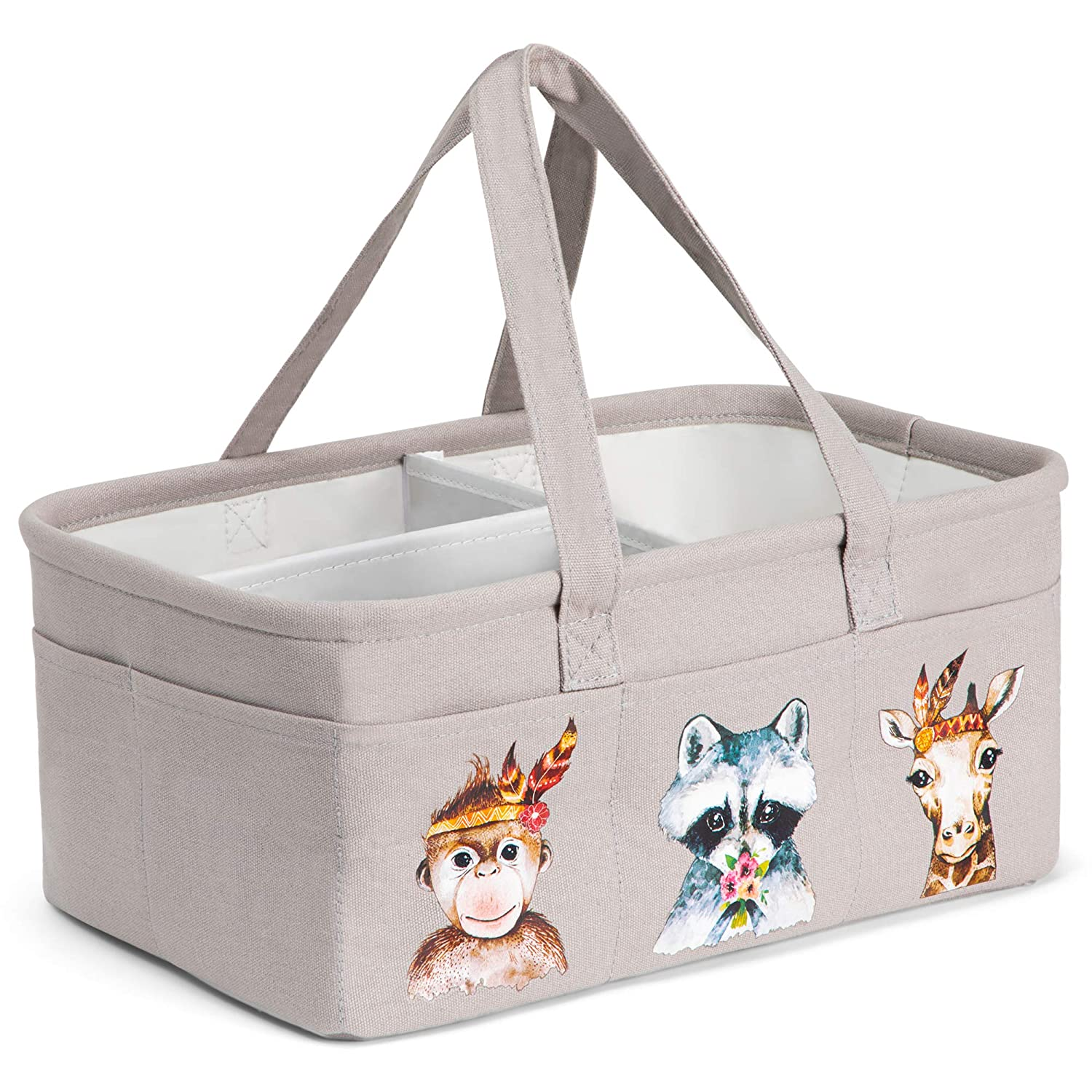 "3 LITTLE GIGGLES Diaper Caddy Organizer with Removable Dividers 10 Toy Storage Pockets - Waterproof Canvas, Beige, 16 x 10"" - Portable Baby Basket 81ud5p976zL"