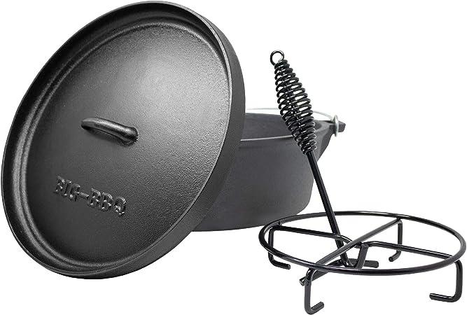 ToCis Big BBQ DO 4.5 Premium Dutch Oven 10 Cocotte et Faitout en Fonte Pr/é trait/és et gu/éris avec l/ève-Couvercle et Support pour Couvercle sans Les Pieds