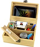 GStar NeverXhale Premium Bamboo Stash Box Combo Kit with Premium Accessories: Grinder, Rolling Paper, Cigarette Roller…