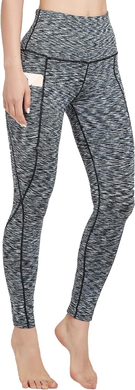 DEALENB Women's High Waist Yoga Pants with Pockets Tummy Control Soft Workout Leggings Running Sport Pants