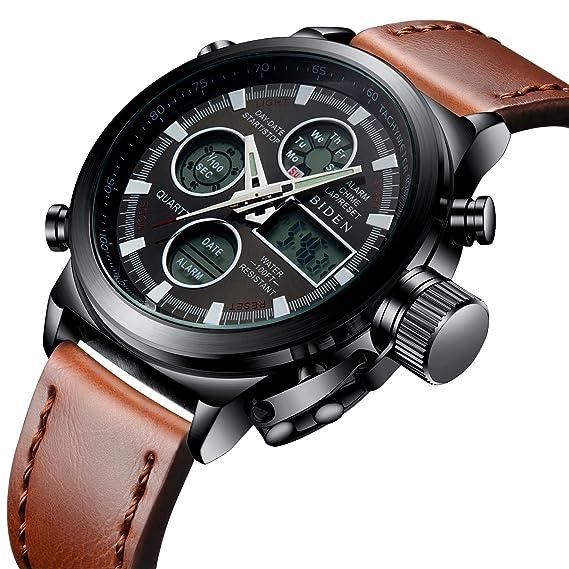 Relojes Deportivo Analógico Digital para Hombres 30M Impermeable  Electrónico LED Cronómetro Dial Grande Militar Dual Tiempo Casual Reloj de  Digital para ... d225ed826694