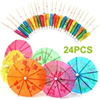 AKORD 24 Mixed Paper Cocktail Umbrellas Parasols Party Drinks, Wood, Multi-Colour, 10.6 x 9.2 x 1.8 cm