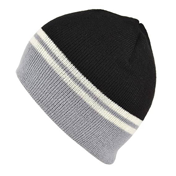 f865361a5a4 DRUNKEN Men and Women Blended Wool Winter Striped Turned Edge Ribbed Beanie  Cap (Black Grey