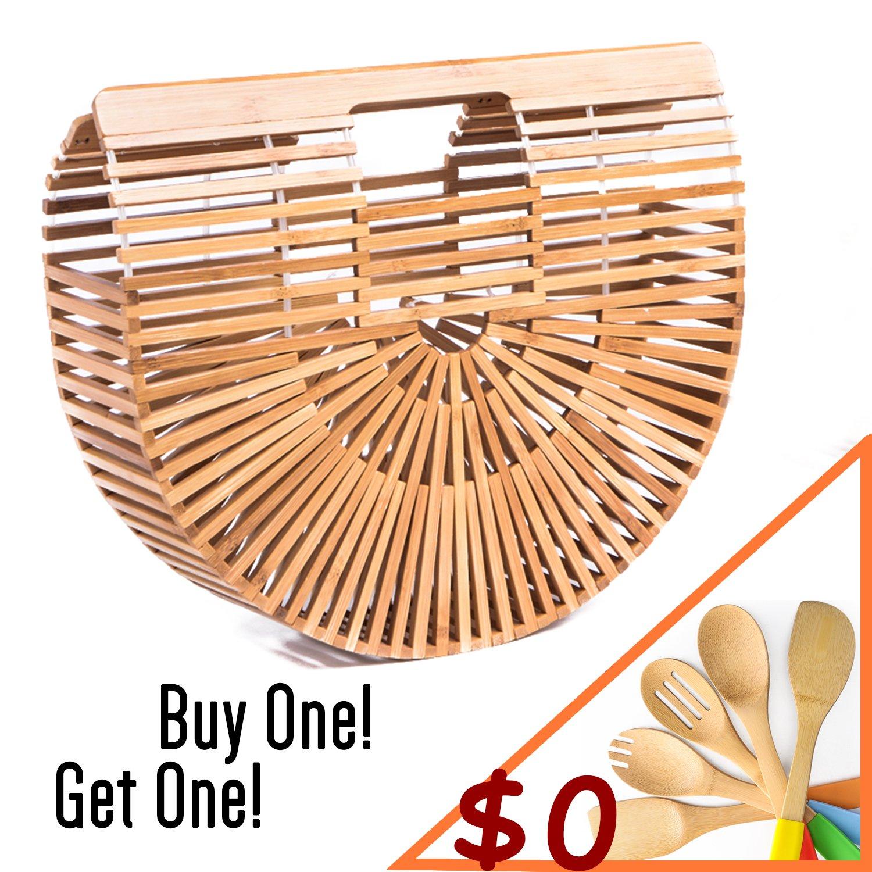 Womens Bamboo Handbag Large Handmade Summer Beach Bag Tote Purse Top-handle Gift Satchel (Small Bamboo Handbag)