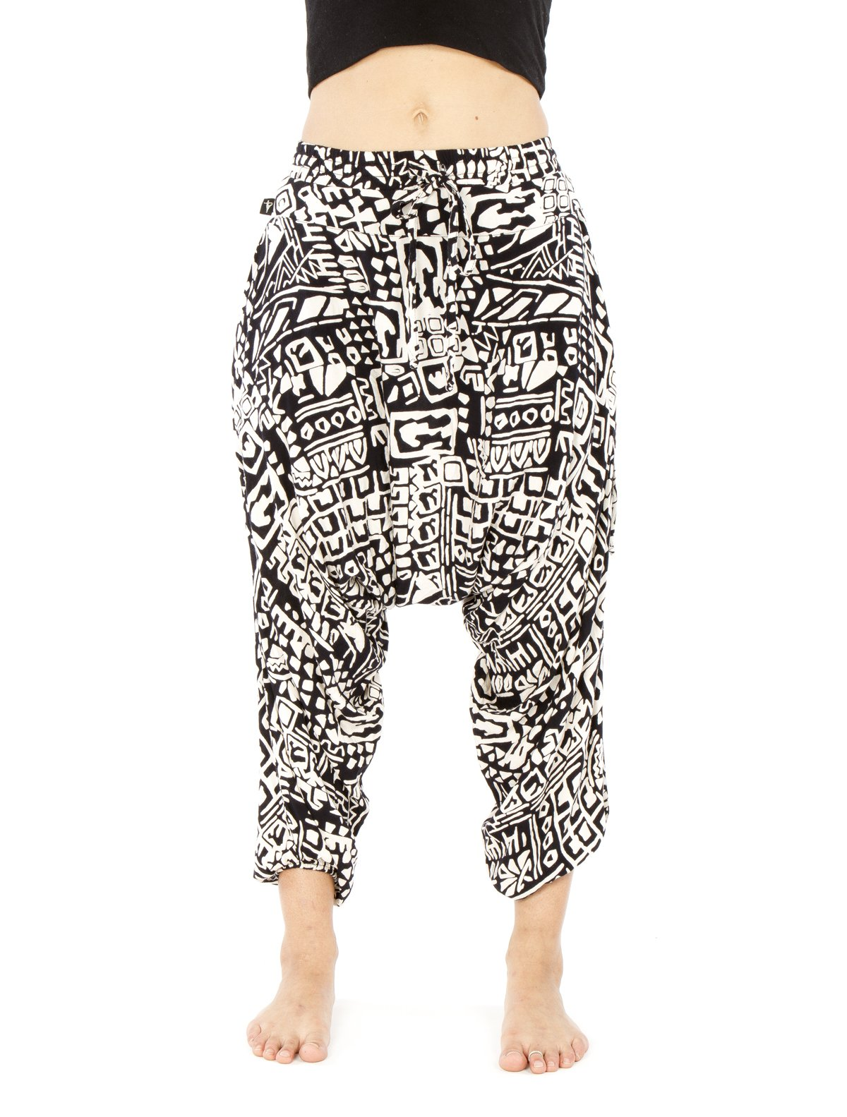 Buddha Pants Harem Womens Savannah Flair Large Black Aztec