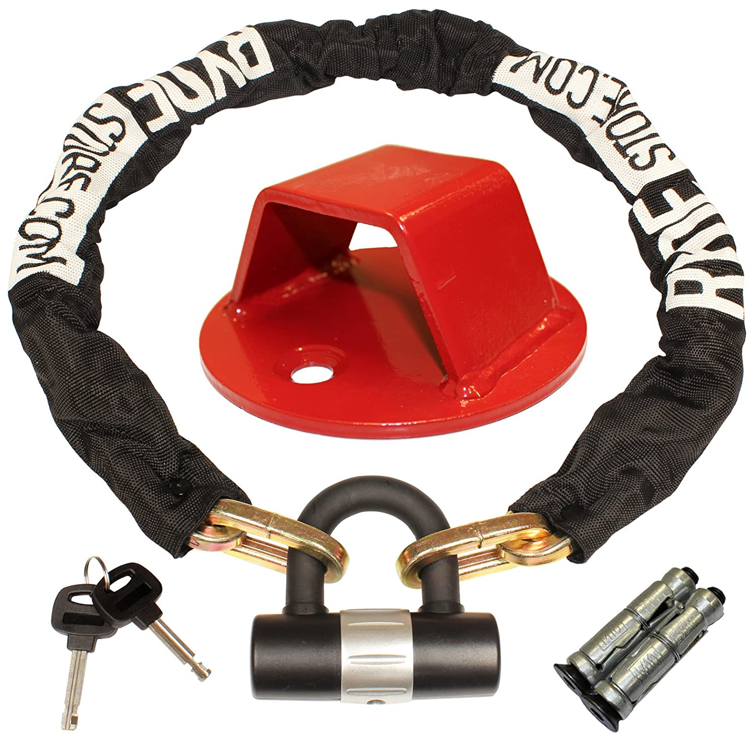 Ryde 1m Heavy Duty Motorcycle Chain & D Lock with Red Ground Anchor