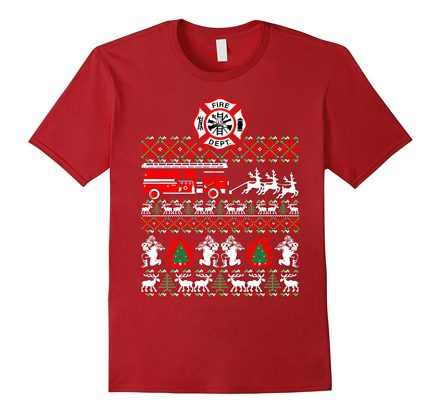 Firefighter Christmas Sweater Ugly TShirt