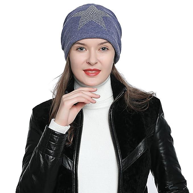 44531f35c0b74d DonDon Damen Mütze Wintermütze mit Strass Stern gefüttert blau: Amazon.de:  Bekleidung