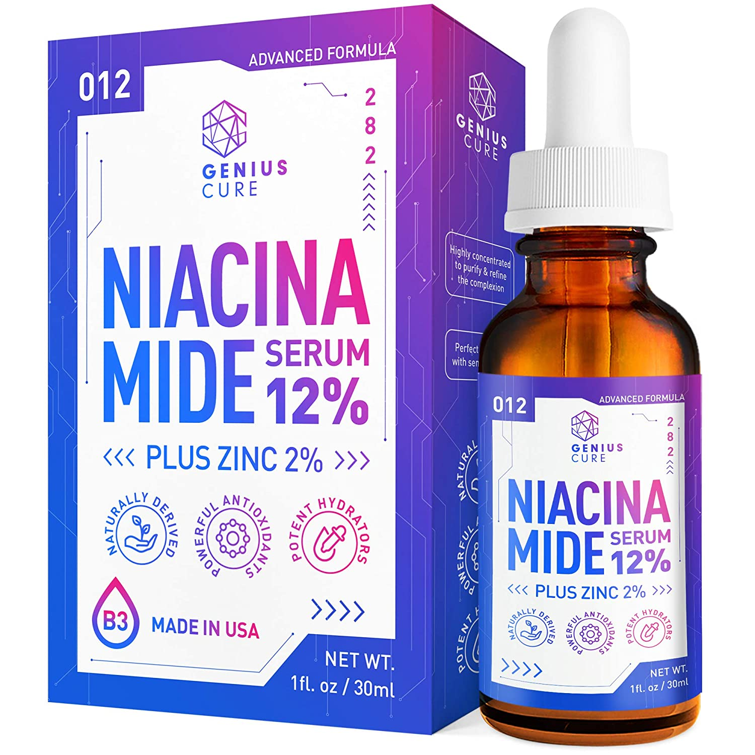 GENIUS Niacinamide 12% Face Serum + 2% Zinc-Vitamin B3 Anti Aging Skin Moisturizer - Vitamin B3 Anti Aging Skin Moisturizer - Diminishes Acne, Breakouts, Wrinkles, Lines, Dark Spot Remover - 1oz