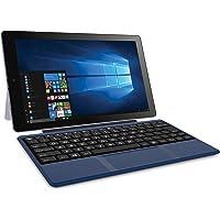RCA Cambio Tablet Notebook de 10 pulgadas 2 en 1 con almacenamiento de 32GB, procesador Intel Atom Z8350, 2GB RAM, Windows 10, incluye teclado, Azul, 4-10.99 inches