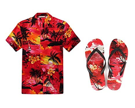cdfdbbba0 Men Matching Hawaiian Luau Outfit Aloha Shirt and Flip Flops in Sunset Red  Shirt XS Sandal