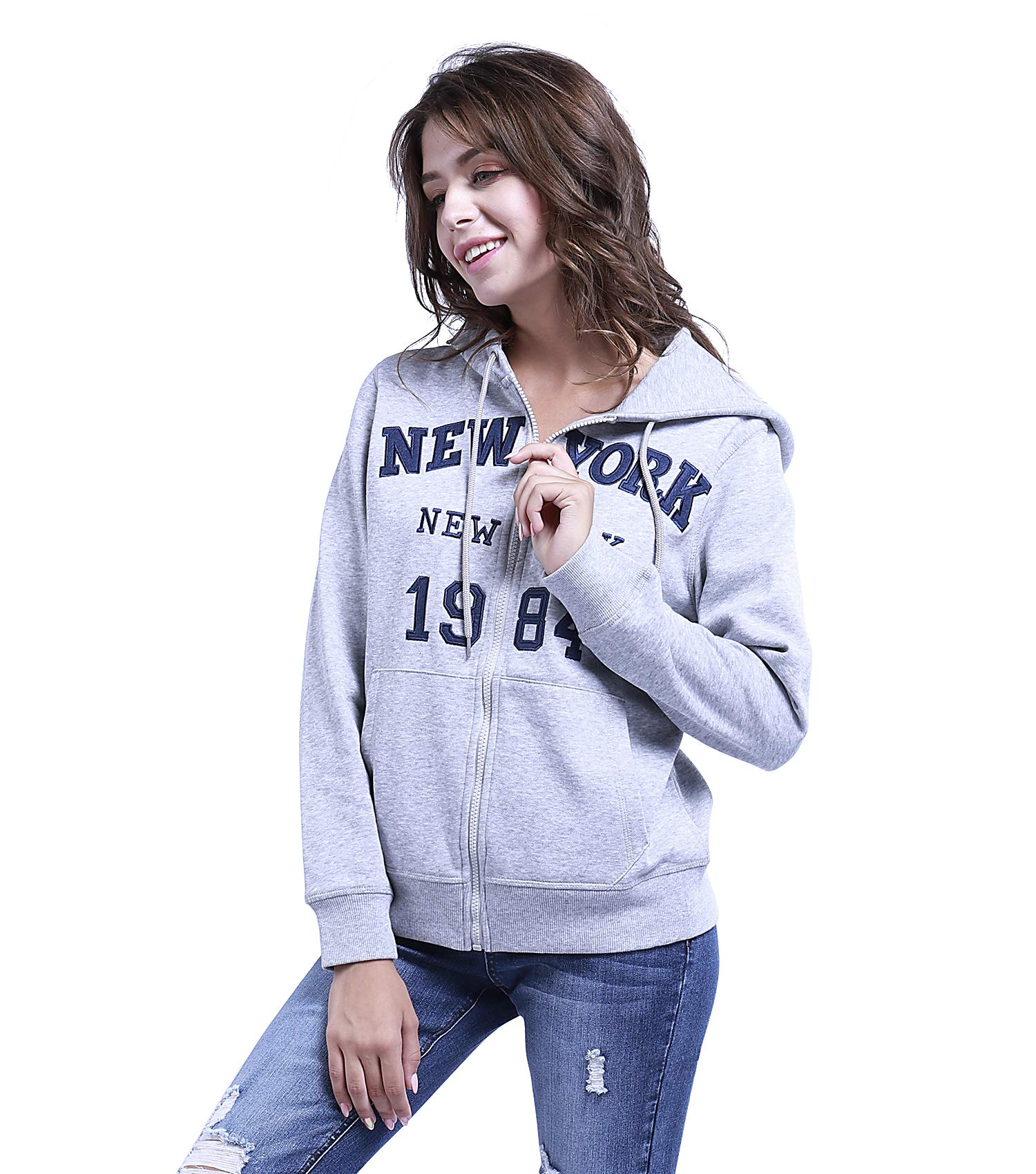 TWO BLOCKS OFF Womens Pull Over Hoodie Long Sleeve with Pockets Casual Pullover Sweatshirt Tops Light Grey Size S