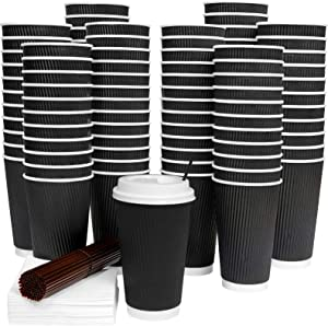 [80 Sets] Disposable Coffee Cups with Lids 16 Oz Hot Paper Coffee Cups with Lids Insulated Ripple Tea Cup Travel To Go with Stirring Straws and Napkins by Galashield