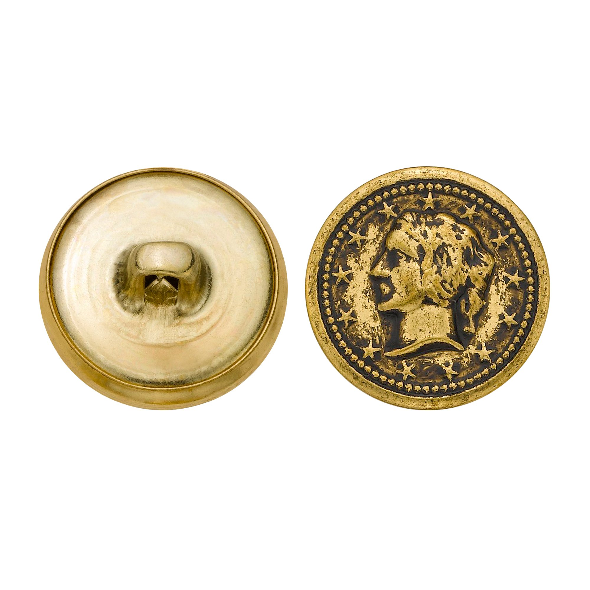 C&C Metal Products 5328 Lady Head Coin Metal Button, Size 30 Ligne, Antique Gold, 36-Pack