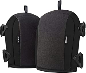BESKAR Knee Pads - Flooring KneePads with Soft Foam Padding, No-Slip Leather & Strong Double Straps, Adjustable Easy-Release Slip-Clips Great for Working Roofing Cleaning and Garden - Black