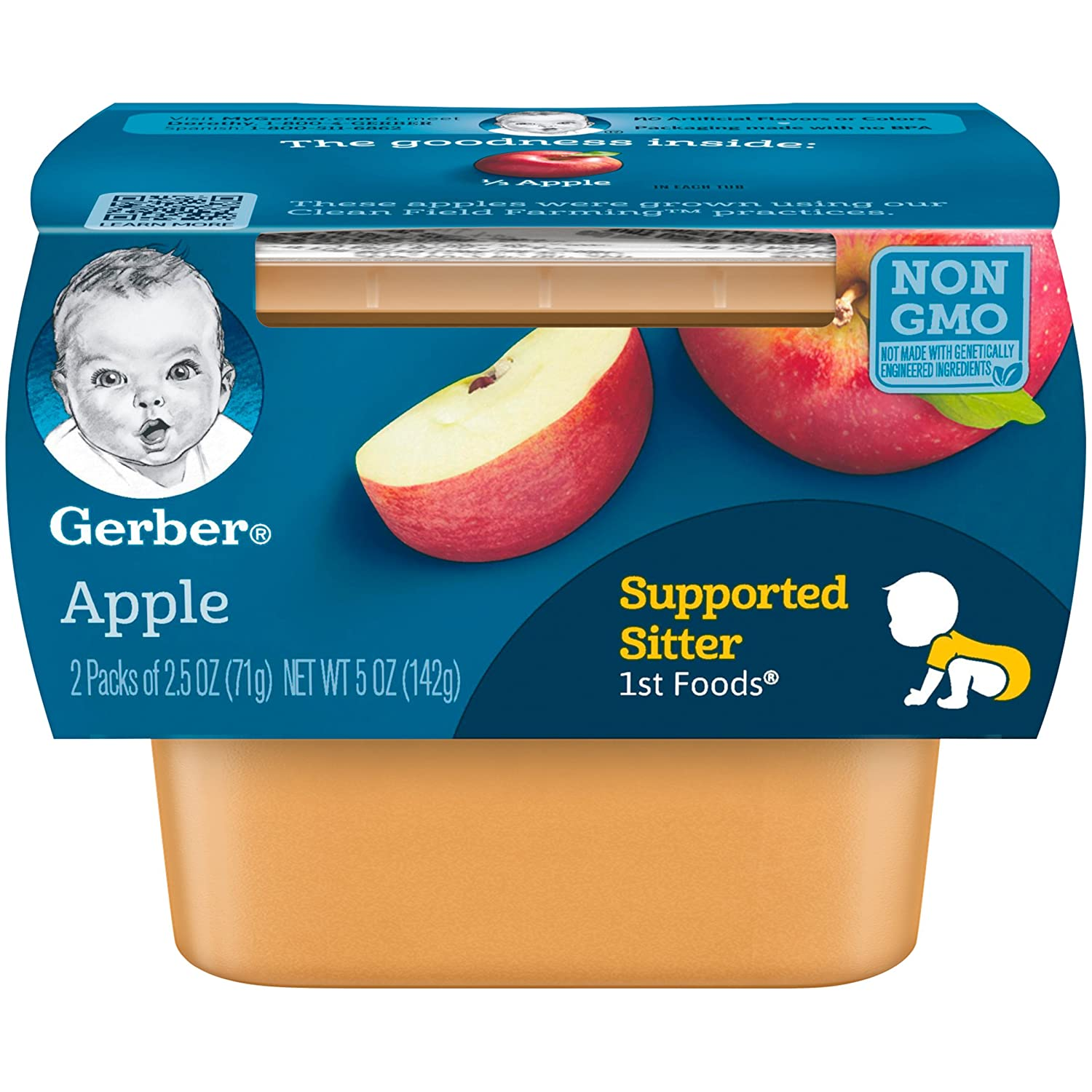 Gerber 1st Foods Apples, 2.5 oz Tubs, 2 Count (Pack of 8)