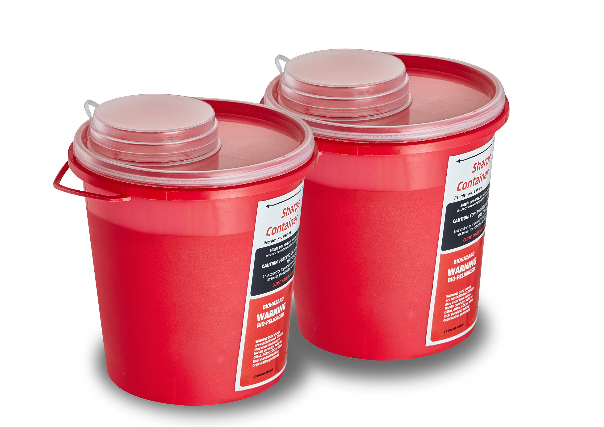 AdirMed Round Sharps & Needle Biohazard Disposal Container - 1.5 Quart - 2 Pack