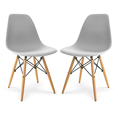 Poly and Bark Modern Mid-Century Side Chair with Natural Wood Legs for Kitchen, Living Room and Dining Room, Harbor Grey Set of 2
