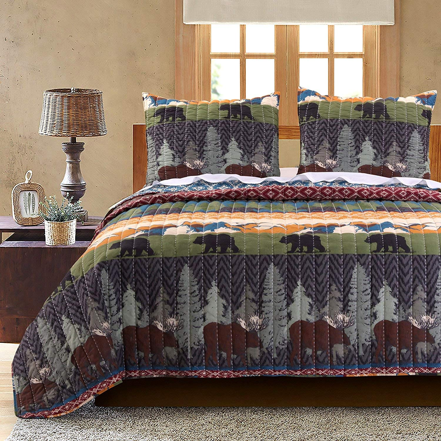 Greenland Home Black Bear Lodge Quilt Set, 2-Piece Twin Greenland Home Fashions GL-1608EMST