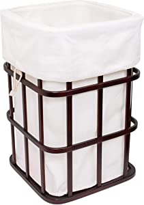 BIRDROCK HOME Modern Square Laundry Hamper and Removable Laundry Bag - Dark Brown Bamboo - Easily Transport Laundry - Baby Dirty Clothes Bin Sorter Basket - Laundry Bag with Draw String