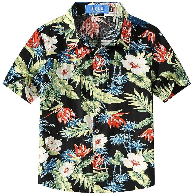 3ad027fd0 SSLR Big Boy's Floral Cotton Short Sleeve Button Down Hawaiian Shirts (X- Small(