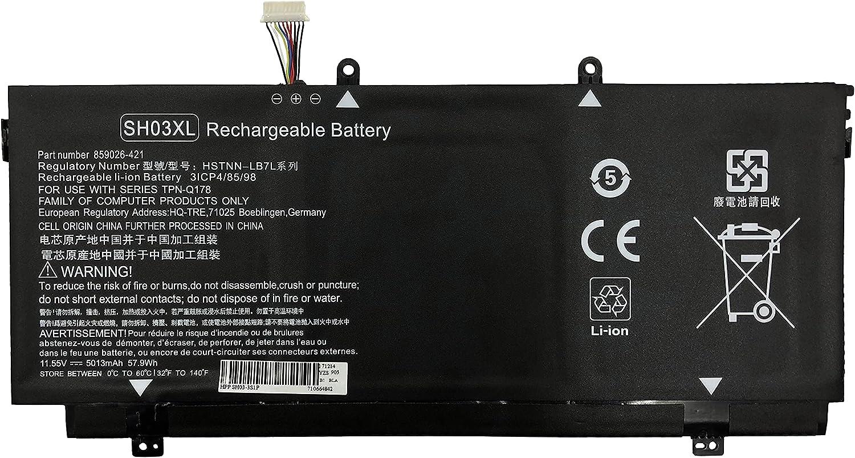 BURFLO SH03XL Battery for HP Spectre/Envy X360 13-AC000 13-W000 13-AB000: 13-AC023DX 13-AC033DX 13-W023DX 13-W013DX 13-AB001;HSTNN-LB7L 859026-421 859356-855 TPN-Q178 901308-421 SHO3XL SH03057XL