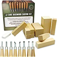 [Premium] Wood Carving Whittling Kit - Woodcarving Set for Beginner, Kids and Adults - 10 Basswood Carving Blocks + 8…