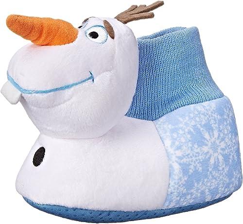 Disney Toddler Frozen Olaf Blue White Plush 3-D House Shoes Bootie sz 7 8 9 10