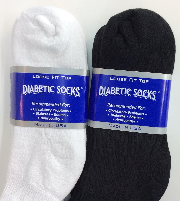 New Black 6 Pairs Men Diabetic Crew Circulatory Health Socks Cotton Size 9-15