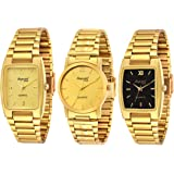 Imperial Club Combo Pack of Three Golden Colour Analog Watches for Men (wcm-004)
