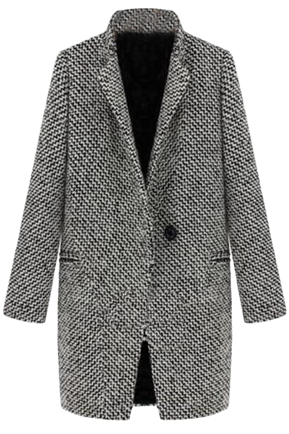 Women England Houndstooth Plaid Coat
