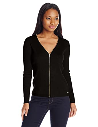 Calvin Klein Women's Ribbed Zipper-Front Cardigan Sweater at ...