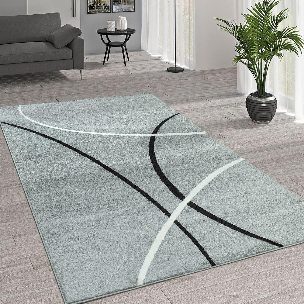 Paco Home Kurzflor Wohnzimmer Teppich Trendige Moderne Linien Muster In Grau Schwarz Weiß, Grösse 200x280 cm
