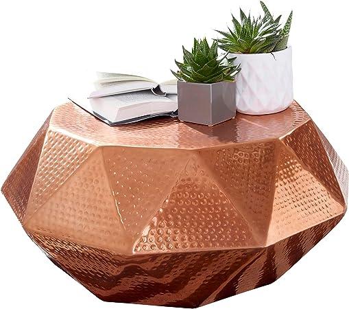 Salon 73 Table CuivreTable d'appoint de canapé Oriental 5 73 FineBuy Conception x Bout Métal x cm martelée 28 Aluminium Table Basse Basse Table Yb7yfg6