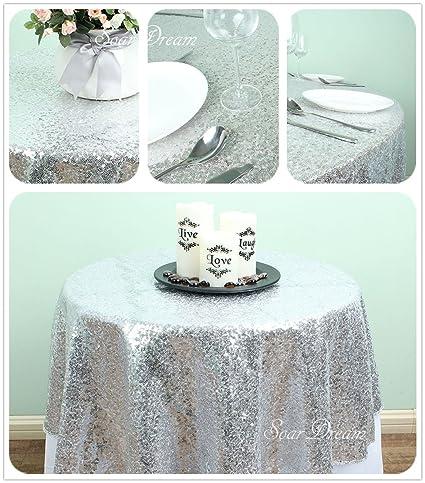 SoarDream Silver Sequin Tablecloth 50 Inch Round Glitter Sequin Table  Overlays Sequin Cake Tablecloth