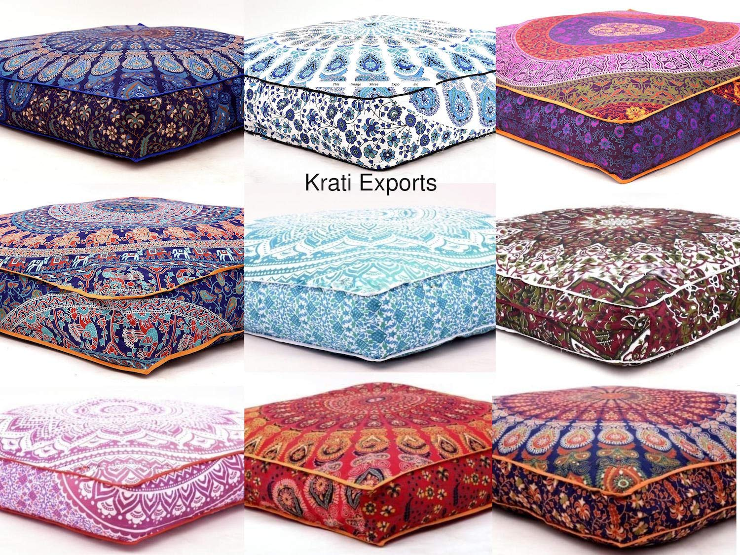 5 Pcs Large Mandala Floor Pillows Wholesale Lot Square Indian Cushion Cover 35