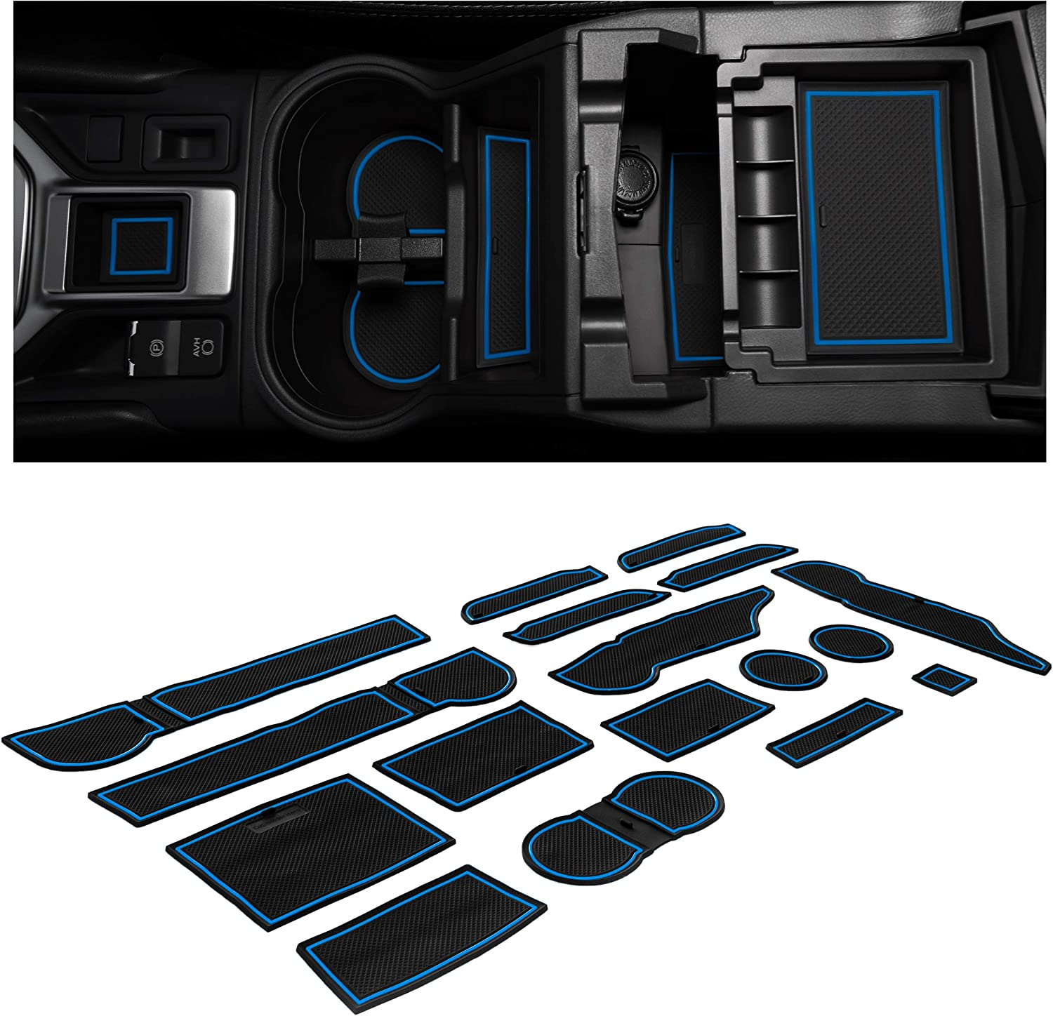 Premium Cup Holder Blue Trim Console and Door Pocket Inserts 17-pc Set CupHolderHero for Subaru Forester 2019-2020 Custom Liner Accessories