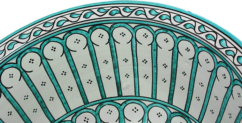 pintado a mano pintado desde dentro hacia fuera di/ámetro 40cm Altura: 16cm Circular Lavabo de ba/ño marroqu/í de cer/ámica de Fes // Alcazar