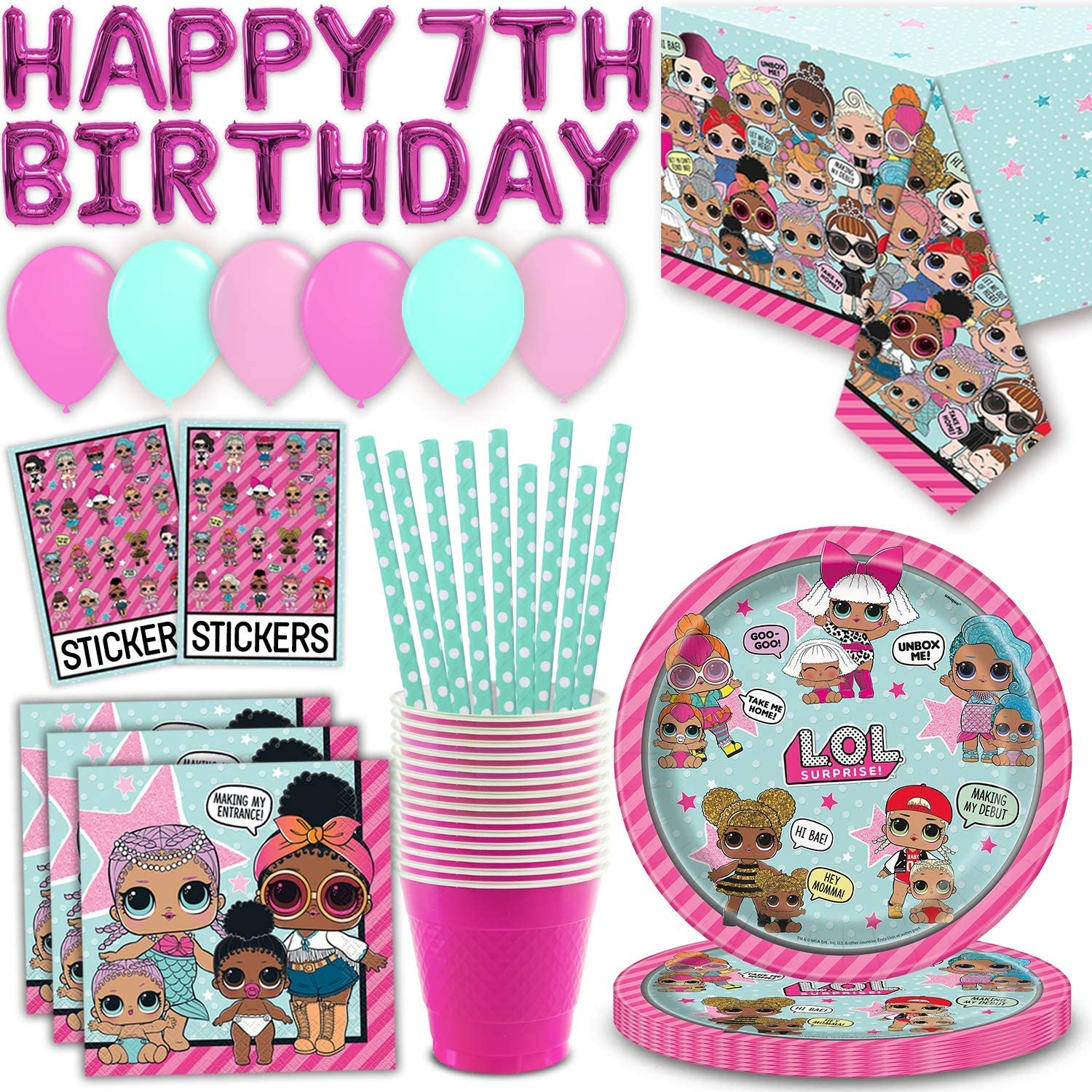 LOL SURPRISE Plastic Material 2 Counts Table Cover Girl Party Supplies Party