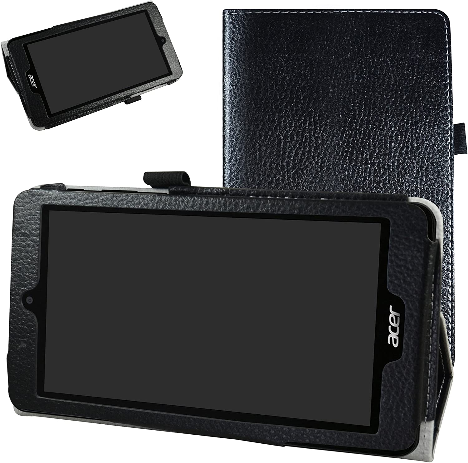 "Acer B1-780 / B1-790 Case,Mama Mouth PU Leather Folio 2-Folding Stand Cover with Stylus Holder for 7"" Acer Iconia One 7 B1-780 / Iconia One 7 B1-790 Android Tablet,Black"