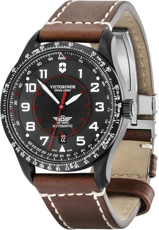 Victorinox Hombre Airboss Mechanical - Reloj de Acero Inoxidable/Cuero automático Hecho en Suiza 241886