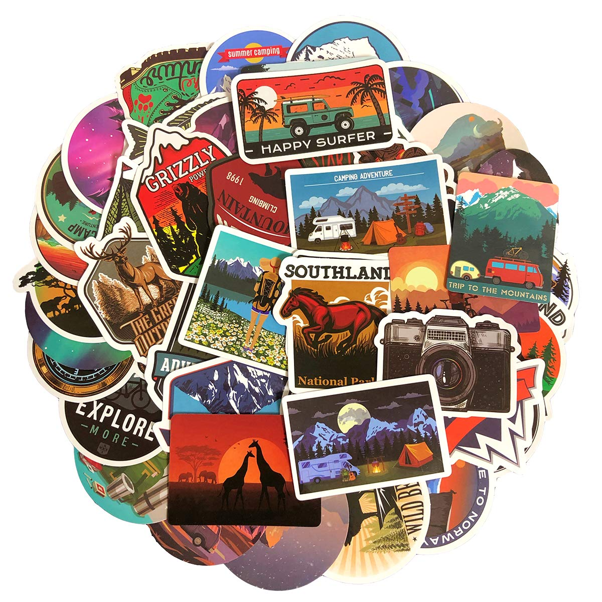 Stickers Calcos 50 un. Surtidos Origen U.S.A. (7SHFF65B)