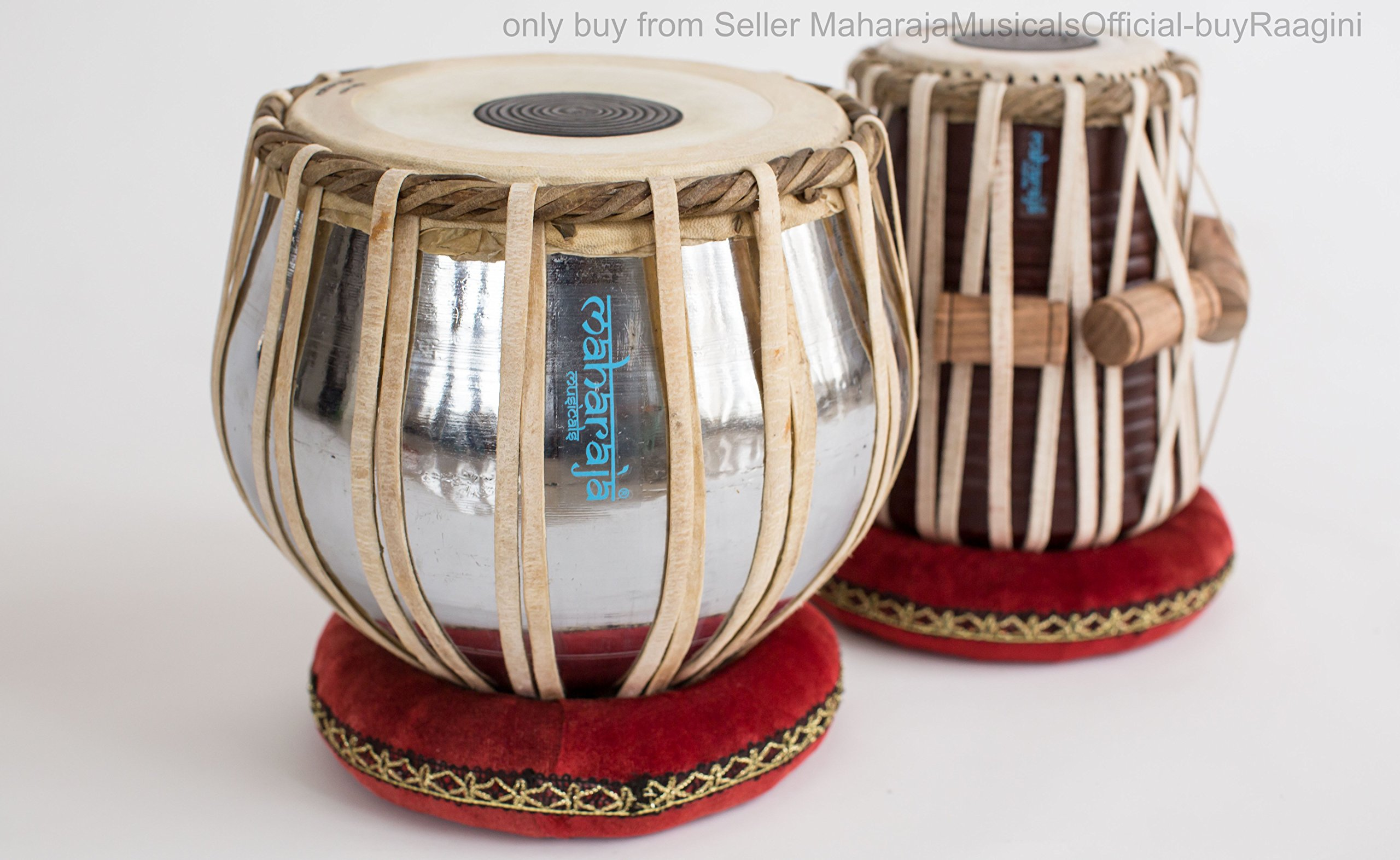 MAHARAJA Student Tabla Drum Set, Basic Tabla Set, Steel Bayan, Dayan with Book, Hammer, Cushions & Cover - Perfect Tablas for Students and Beginners on Budget (PDI-IB) Tabla Drums, Indian Hand Drums by Maharaja Musicals (Image #2)