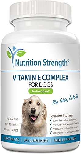 Nutrition Strength Vitamin E for Dogs, Promote Cardiovascular Health, Support Cell Membranes, Vitamin E Complex to Boost Dog Immune System plus Zinc, Selenium, Folate, Salmon Oil, 120 Chewable Tablets