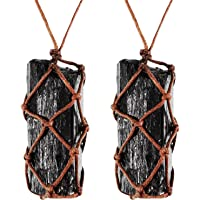 2 Pieces Natural Black Tourmaline Crystal Necklace Hand Braided Chakra Gemstone Pendant Necklace for Men Women (Style 1)