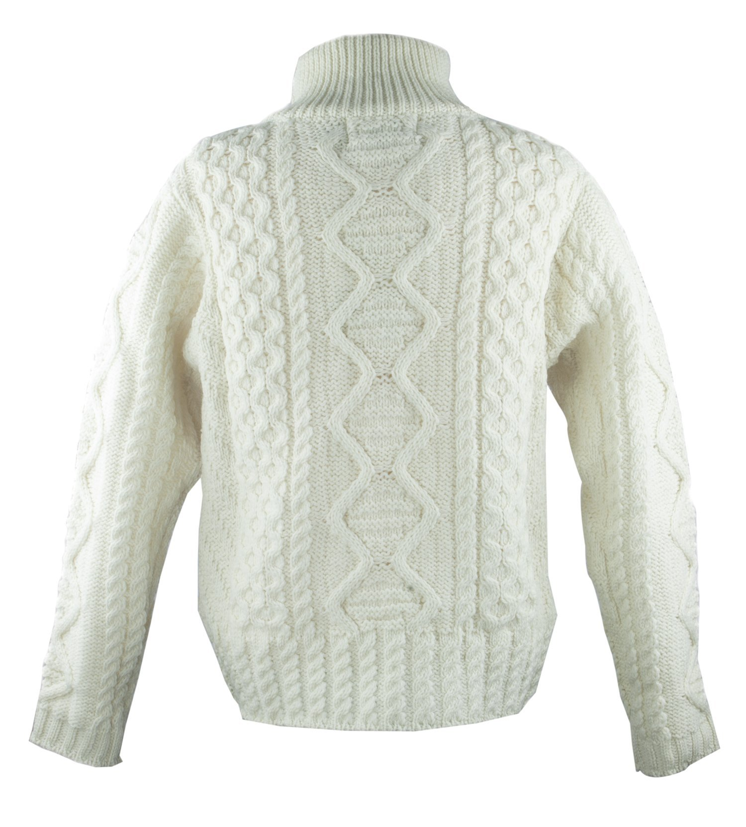 100% Irish Merino Wool Aran Knit Zip Sweater with pockets by West End Knitwear, Ecru, Small by The Irish Store - Irish Gifts from Ireland (Image #2)