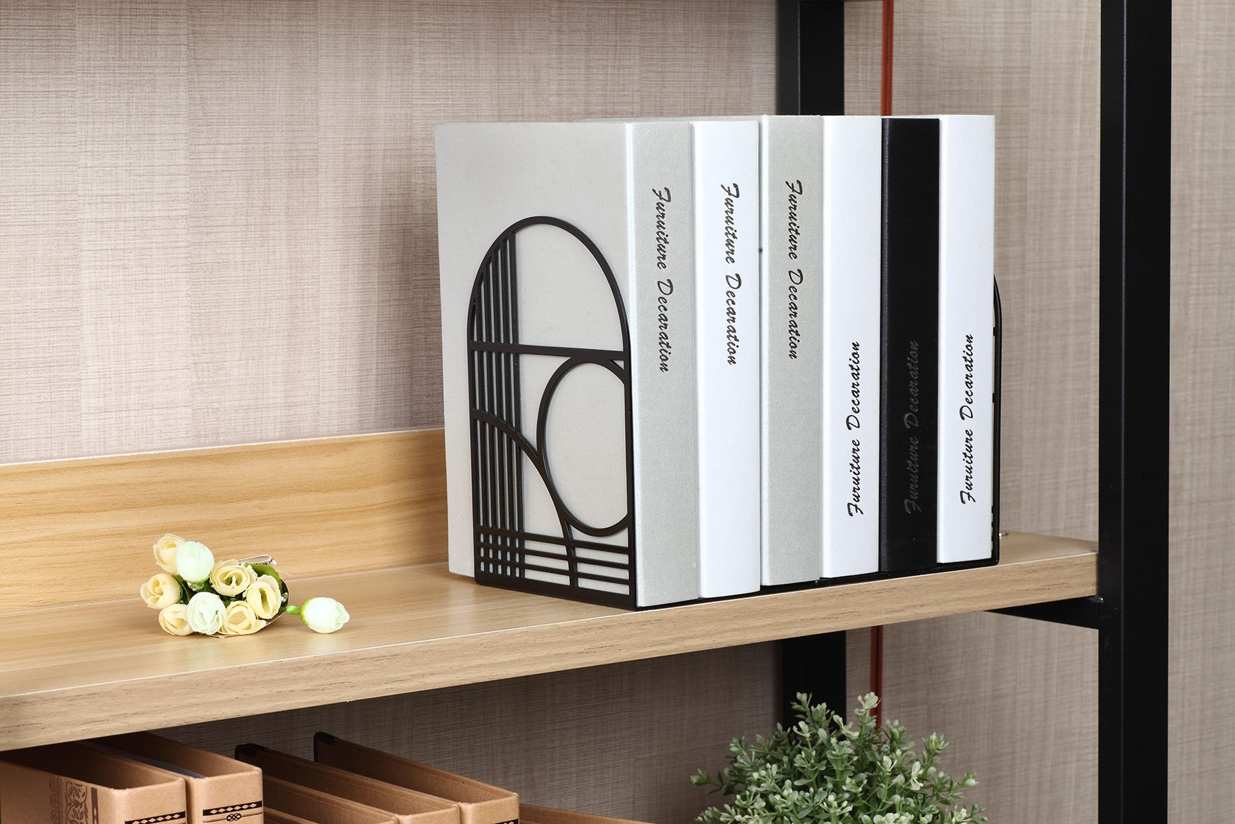 2 Packs Unique Office Bookends - Modern Brand Design Metal Book Ends for Large and Tall Books (Black Two Pairs) by NEUN WELTEN (Image #3)