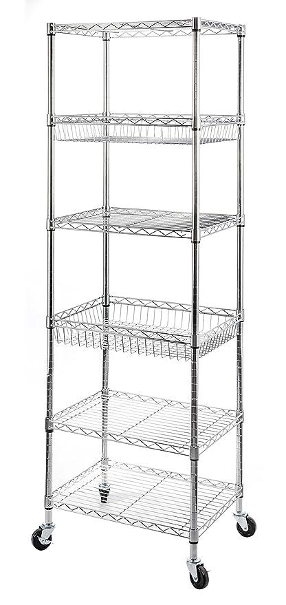STORAGE MANIAC 6 Tier Steel Wire Shelving Unit, Rolling Storage Rack  Organizer With 2