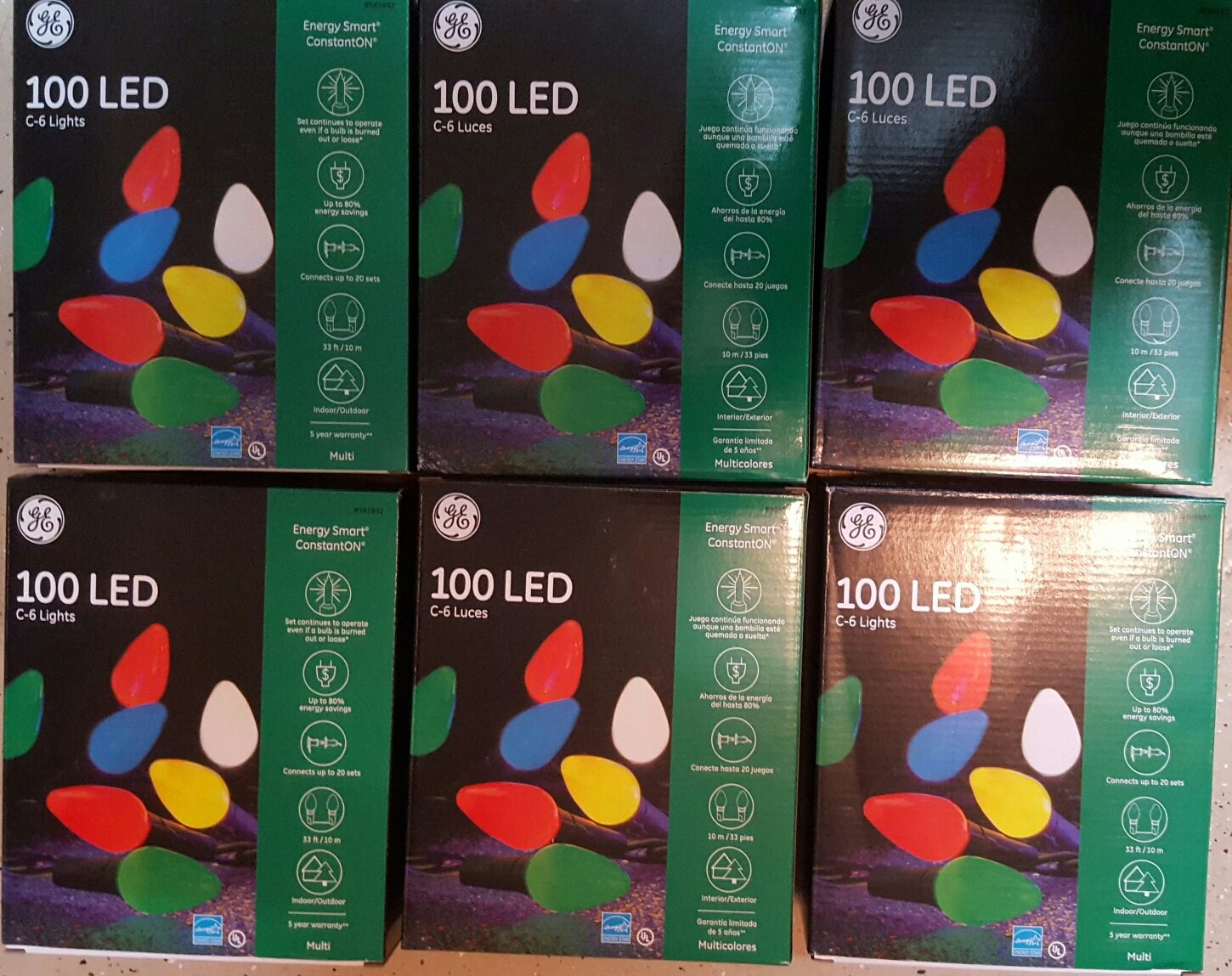 1 33ft String GE Energy Smart 100 LED C-6 Holiday//Christmas Lights Indoor//Outdoor 00-13G45C-30